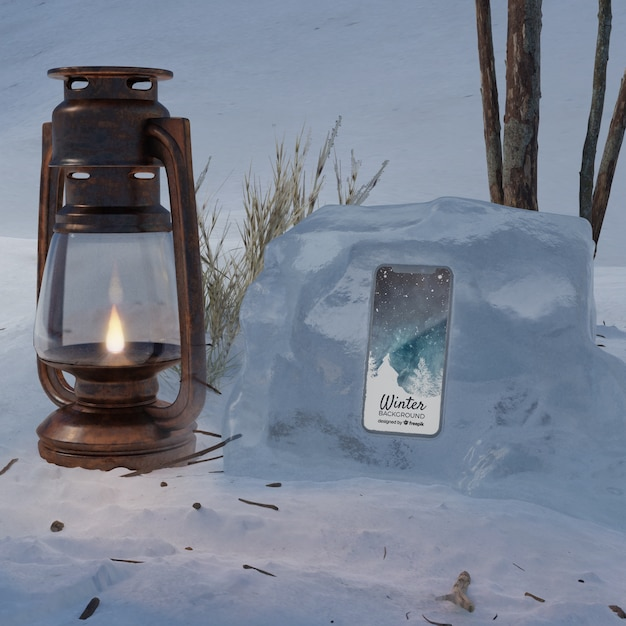 Lantern beside smartphone mock-up Free Psd
