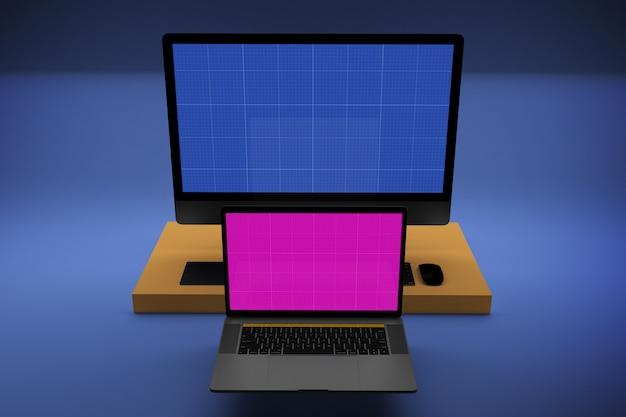 모형 화면이있는 노트북 및 데스크탑 컴퓨터 프리미엄 PSD 파일