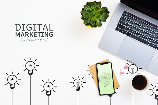 노트북 및 아이폰 디지털 마케팅 배경 무료 PSD 파일
