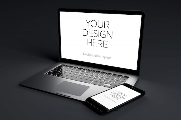 Laptop computer device with screen mock up on black room Premium Psd