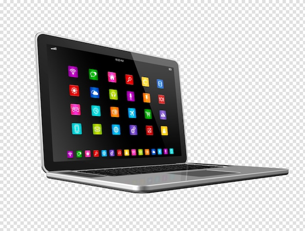 Laptop computer with apps icons Premium Psd