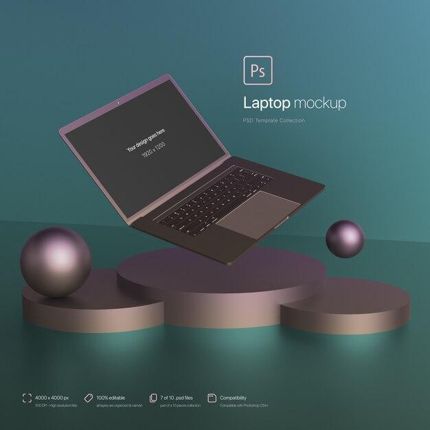추상 환경 이랑에 떠있는 노트북 무료 PSD 파일