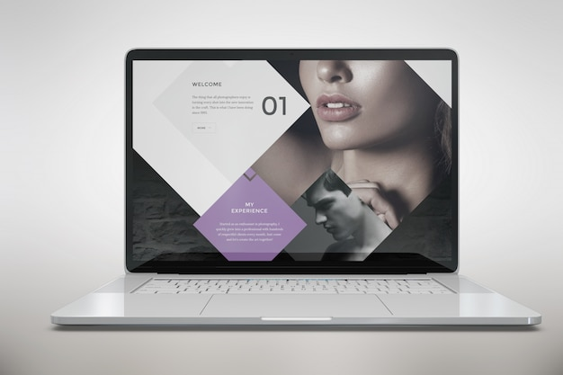 Laptop mock up front view Free Psd
