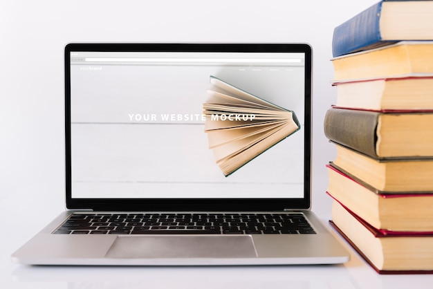 Laptop mockup for literacy day Free Psd