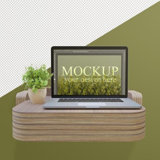 Laptop mockup on mini desk with editable wall Premium Psd