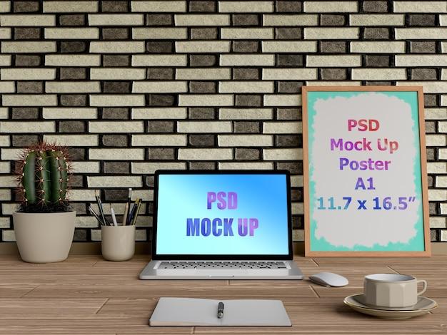 Макет ноутбука рядом с рамкой Premium Psd