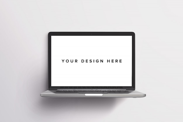 Макет ноутбука на белом Бесплатные Psd