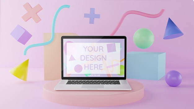 Laptop mockup on podium with abstract elements 3d illustration pastel color Premium Psd