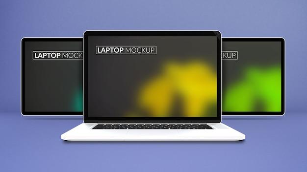 分離されたラップトップモックアップ画面 Premium Psd