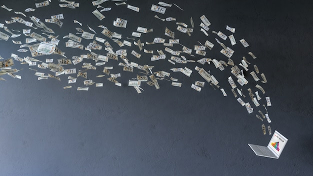 Laptop mockup with dollar bills flying towards it Premium Psd