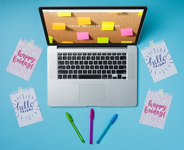 Laptop mockup with notes Free Psd