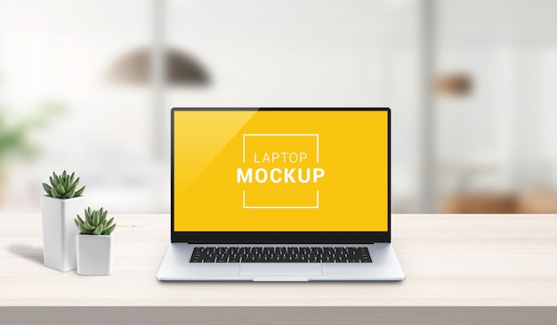 Laptop mockup on work desk. office desk, business composition. isolated screen for app or web site design presentation. scene creator with isolated layers Premium Psd