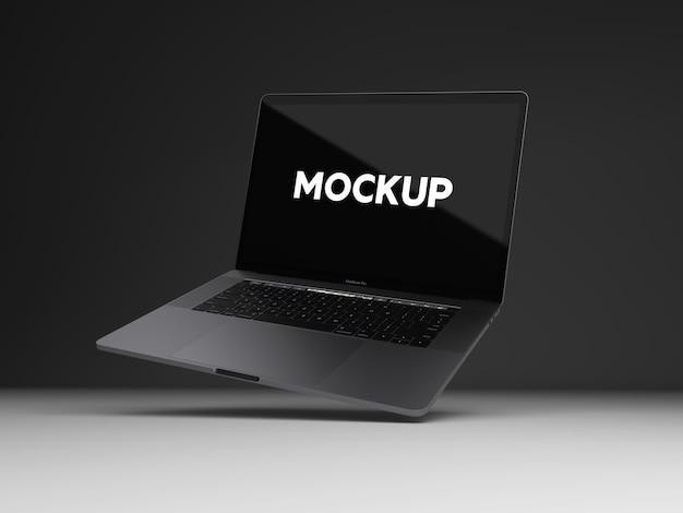 Ноутбук на черном фоне макет дизайна Бесплатные Psd