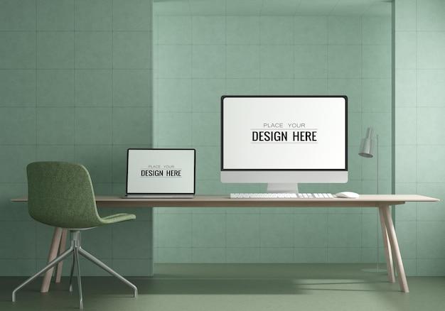 작업 공간 psd 모형의 책상에 노트북 무료 PSD 파일