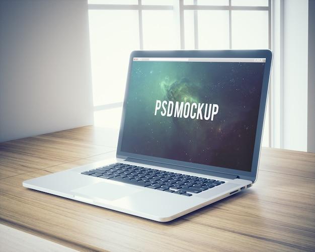 Laptop On Wooden Desk Background Mock Up Psd File Free