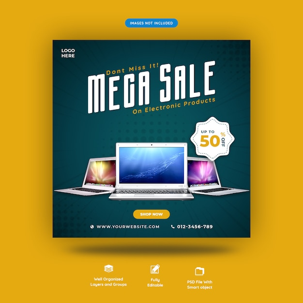 ノートパソコンやガジェット販売ソーシャルメディアバナーテンプレートプレミアムpsd Premium Psd