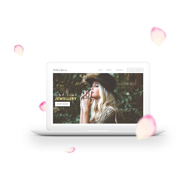 Laptop and petals mock up Free Psd