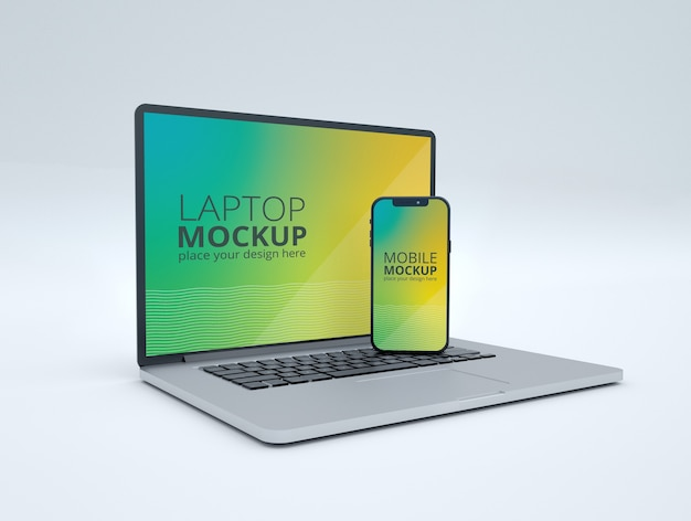 Laptop and smart phone mockup isolated Premium Psd