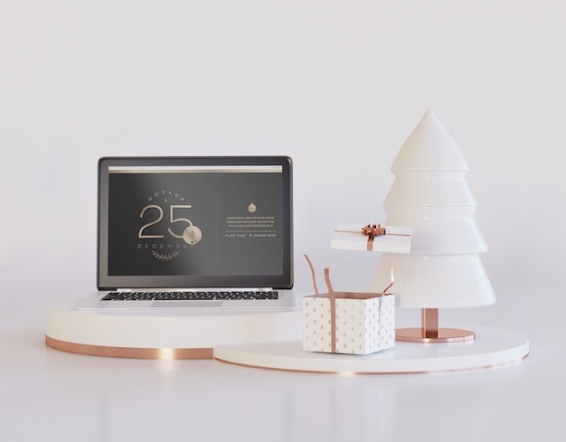 Laptop with christmas design mockup Premium Psd