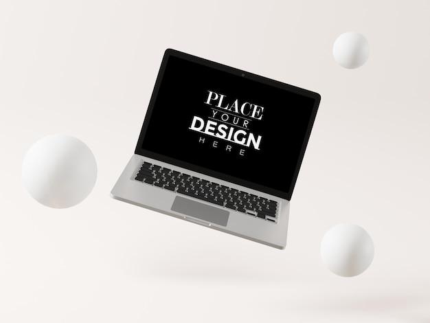 Laptop on workspace mockup Free Psd