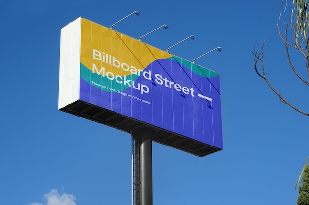 Large billboard mockup on blue sky Premium Psd