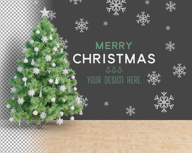 Large christmas tree and white accessories christmas mockup Premium Psd