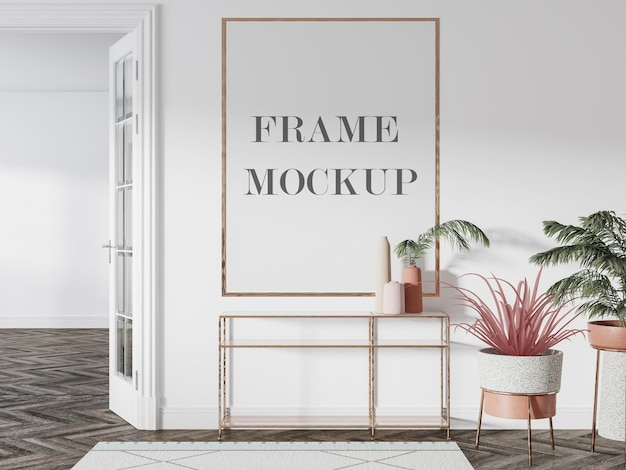 Large wall frame mockup Premium Psd