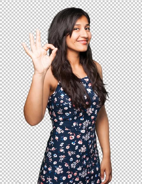 Latin woman doing okay gesture Premium Psd