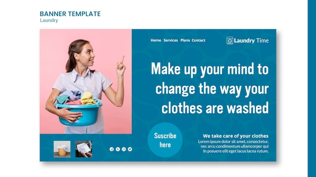 Laundry service ad banner template Free Psd