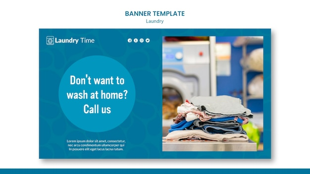 Laundry service banner template Free Psd