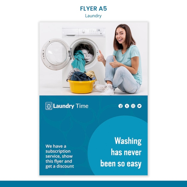 Laundry service flyer template Free Psd