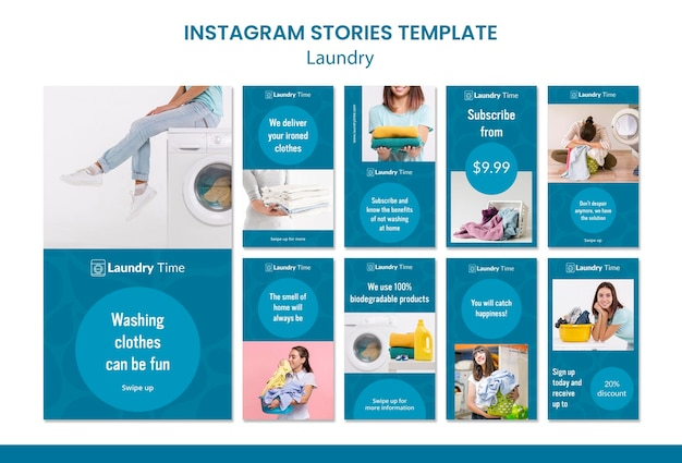 Laundry service instagram stories template Free Psd