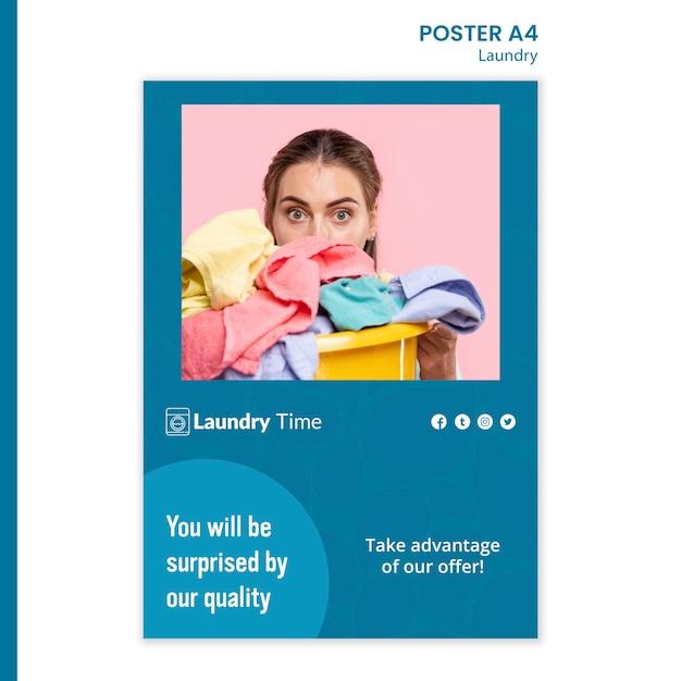 Modello di poster del servizio di lavanderia Psd Gratuite