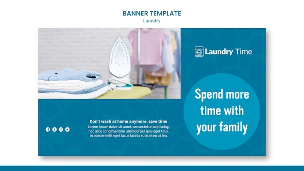 Laundry service template banner Free Psd