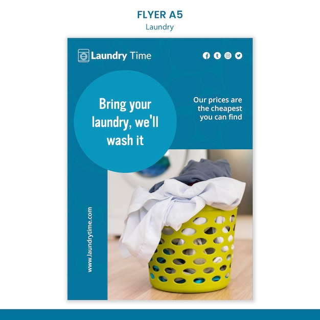 Laundry service template flyer Free Psd