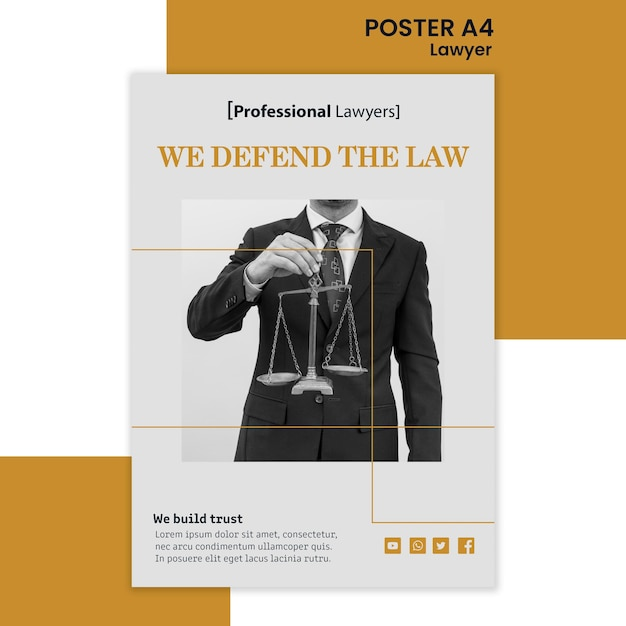法律事務所の広告テンプレートのポスター Premium Psd