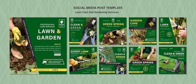 芝生のケアコンセプトソーシャルメディアの投稿テンプレート Premium Psd