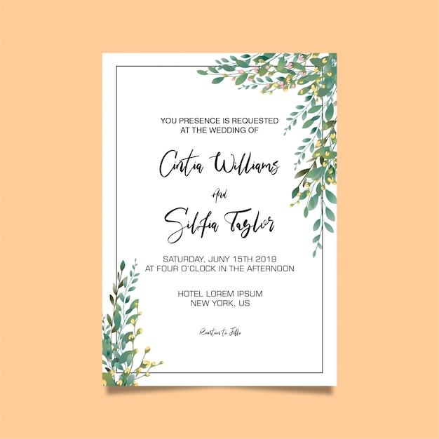 Wedding Invitations Psd: Leaf Frame Wedding Invitation Template PSD File