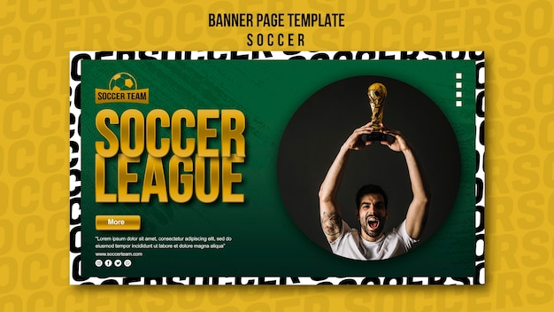 League and school of soccer banner template Free Psd