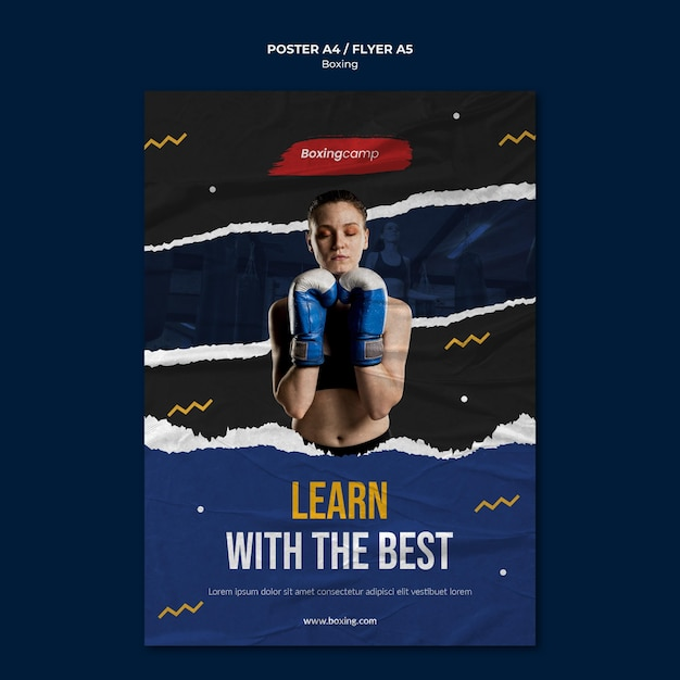 Learn boxing flyer template Free Psd