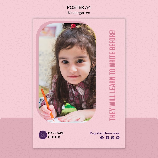 Learn how to white kindergarten poster template Free Psd