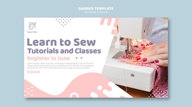 Impara a cucire il modello di banner Psd Gratuite