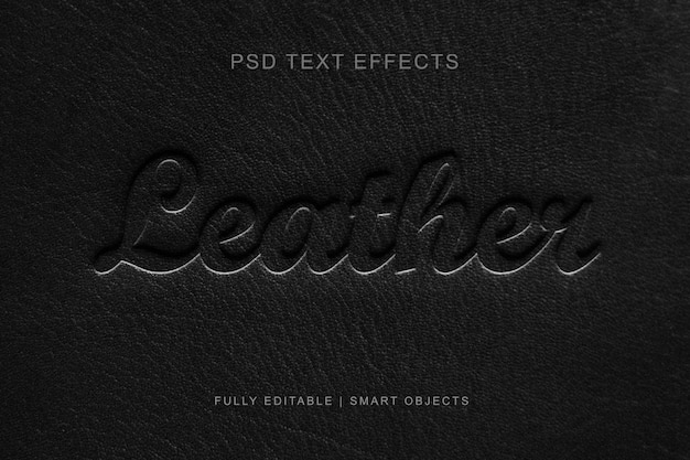Leather editable layer style text effect Premium Psd