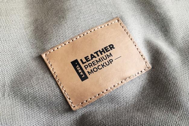 Кожаный этикетка мокап реалистичный коричневый черный Premium Psd