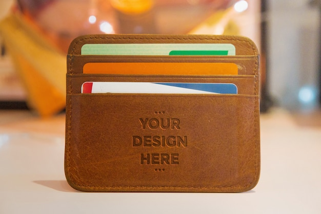 Leather press wallet mockup Premium Psd