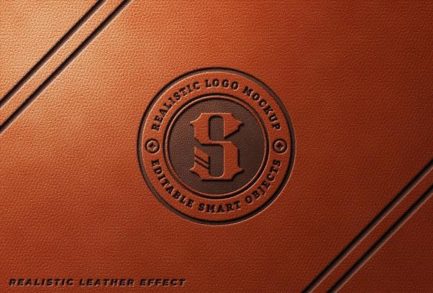 Leather pressed logo mockup on orange leather