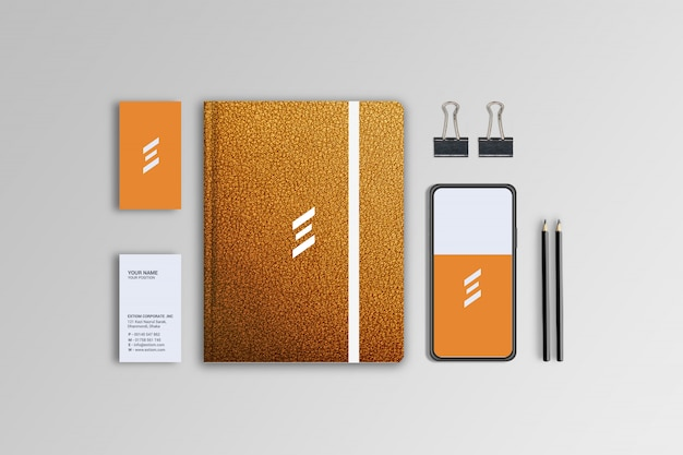 Leather styles notebook, business card and phone design mockup template Premium Psd