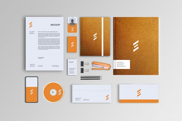 Leather styles stationary mockup template Premium Psd