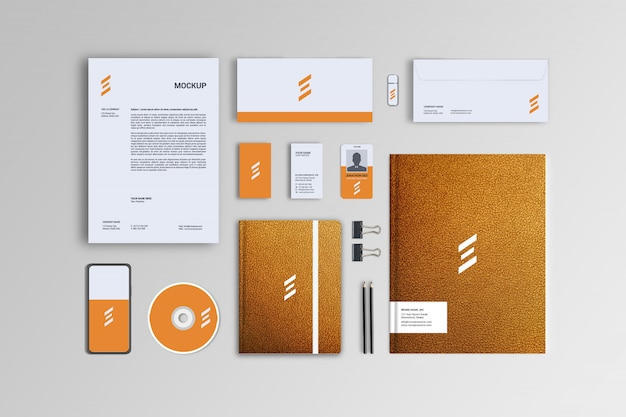 Leather styles yellow stationary mockup template Premium Psd