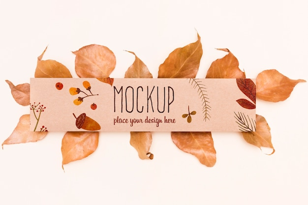 Leaves composition autumnal mock-up style Free Psd